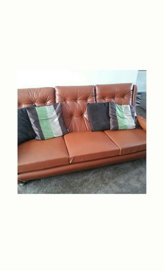 Tan Leather 1960's Danish Designer Settee & Armchair for sale | in