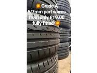 💥💥Grade A part worn tyres supplied, fitted and balanced with new valve!💥💥