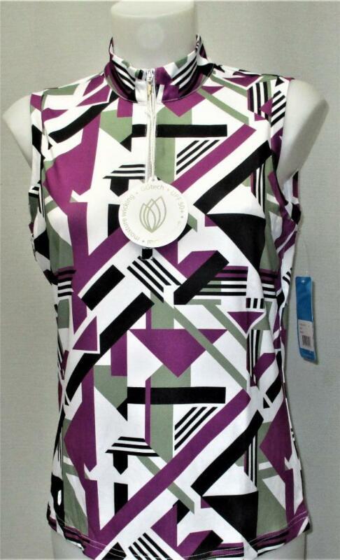 New Ladies GG Blue Luxe Sport Tess sleeveless mock neck zip polo shirt Small