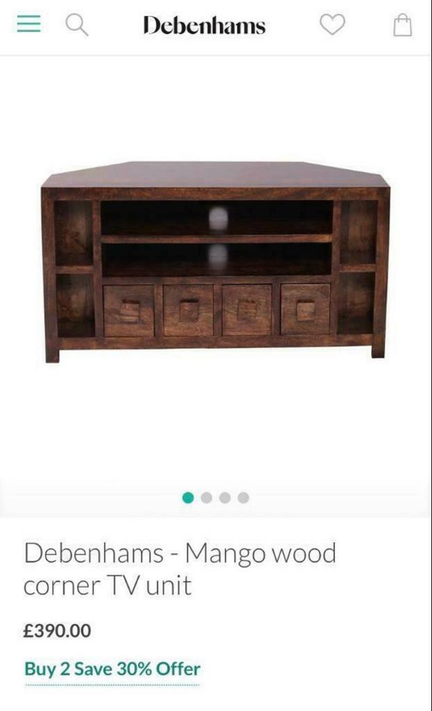 Bargain Debenhams Corner Mango Wood Tv Unit In Whitchurch Bristol Gumtree