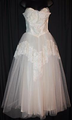 2-Pc Vintage CORRINE ORIGINAL Ivory LACE Crinoline TULLE Wedding Dress & Jacket