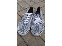 Size 6, authentic Vans®, grey snake skin print