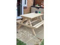 Wooden Picnic Table Bench Pub Park Garden Outdoor **Quality Handmade In The Uk**