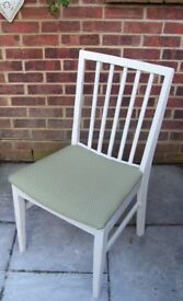 Vanson Chair painted in Antique White & reupholstered in Olive Green Fabric with white spots
