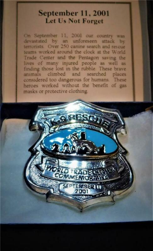 👀 High Quality World Trade Center K-9 Rescue Commemorative Badge  9/11/ 2001