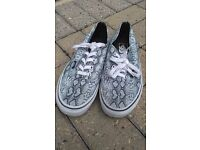 Size 6 Authentic Vans® canvas shoes, grey snake skin print