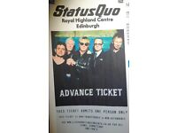 2x Tickets, Status Quo , Saturday 23rd July at the Royal Highland Centre £40