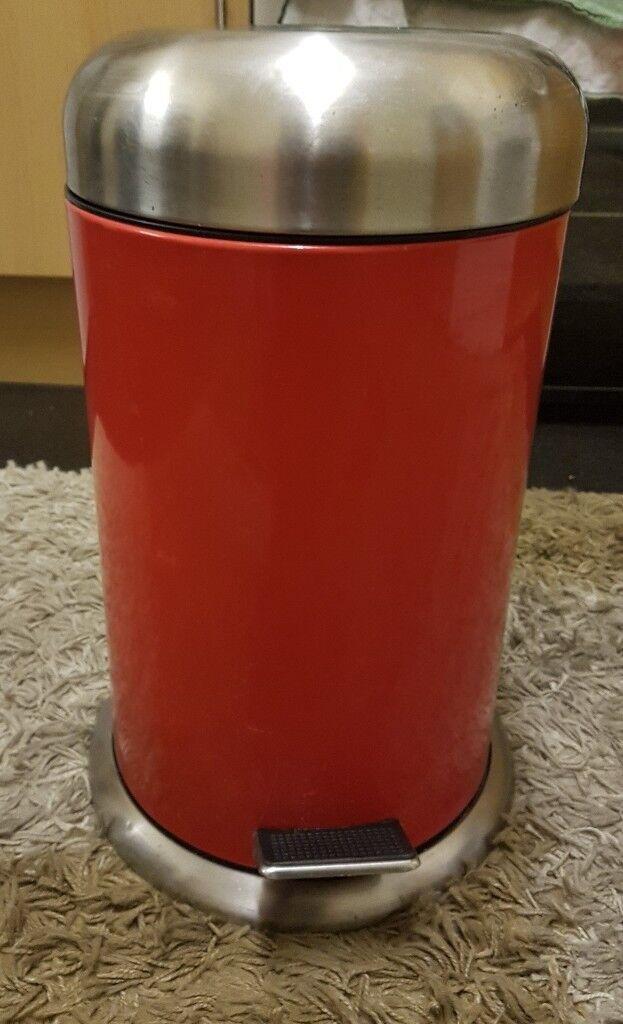 Pedal Bin Kitchen Bathroom Red