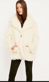 Urban outfitters ivory faux fur coat brand new with label size M ideal Christmas gift, present