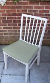 Lovely Vanson Chair Painted in Antique White and reupholstered in olive green fabric with spots