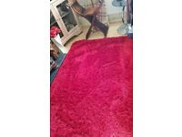 shaggy red rug