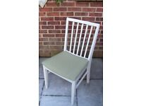 Popular Vanson Style Chair Painted in Antique White and reupholstered in Olive Green Fabric