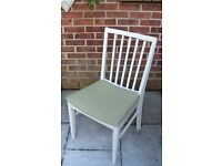 Stylish Shabby Chic Dining/Living/Bedroom Chair painted in Antique White and reupholstered in olive