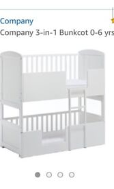Bunk Cot 3 in 1 convertible cot or cotbed for twins or toddler/baby