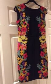 Black bodycon floral dress size 10
