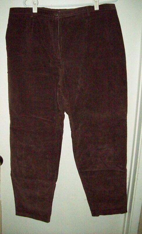 Rafaella Woman Dark Brown Thin Corduroy Pants 22 Plus EXCELLENT