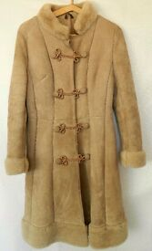 Ladies Vintage Suede Sheepskin Light Tan Coat with Classic Military Styling