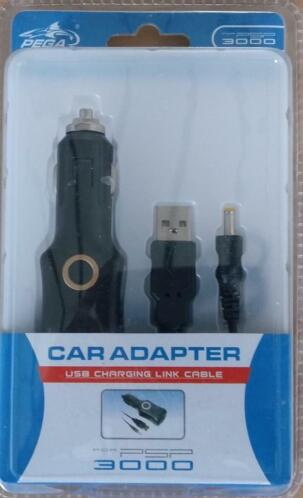 Autolader / car adapter met Link cable voor de Sony PSP