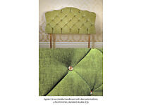 Apple/Lime Green Velvet Chenille & Diamante Headboard Double (used as a prop only)