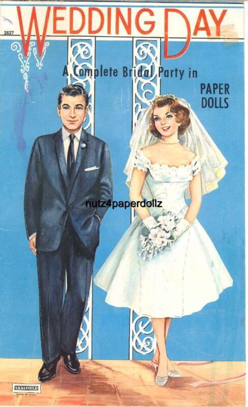 VINTAGE 1960s WEDDING DAY PAPER DOLL ~SAALFIELD~UNCUT ORG SIZE LASR REPRODUCTION