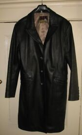 Ladies Black Leather Lined Coat by Jogi Leathers, made in the UK.