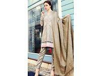Pakistani Salwar Kameez - Maria B (Beige/Green) - Stitched
