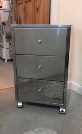 Bedside Table stainless steel Mirrored with 3 drawers Great Condition