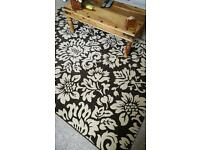 Large Brown Damask Rug