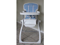 Cosatto collapsible high chair. stable 3 height adjustments on straps folds flat for easy storage.