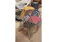 6 chrome framed bistro chairs