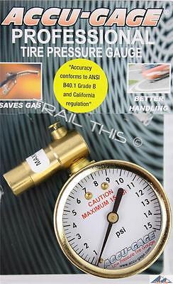 Meiser Accu-Gauge 0-15psi Presta-Valve Dial Low Air-Pressure Gauge Fat Bike Tire