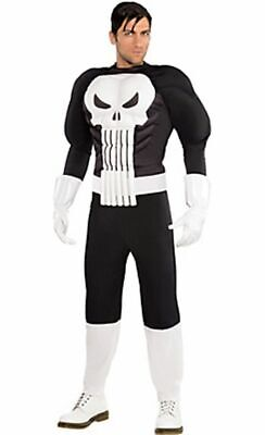 Marvel Punisher Muscle Costume Black White Skull Mens' Adult Standard Size NEW!