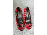 Red Tartan Shoes and Bag