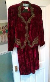 Frank Usher Velvet vintage skirt/jacket/ size 10 crimson suit with bronze brocade trim