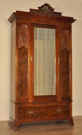 Large Antique Edwardian Harris Lebus Walnut Art Nouveau Mirror Door Wardrobe