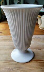 Vintage Wedgwood Etruria + Barlaston Cream Ribbed Fluted and Footed Vase