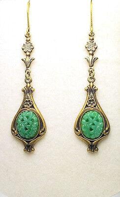 Art Nouveau Art Deco Style Vintage Brass Floral Green Jade Glass Drop Earrings
