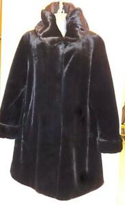 WINTER CLEARANCE SALE!  BRAND NEW Womens L XL SWING COAT Black Warm FAUX FUR 16 18 CAR HOOD COZY Maternity Loose Canada