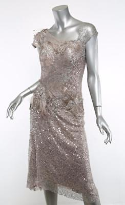 TRASH COUTURE Womens Mauve Taupe Sequin Lace Bustier Formal Dress US 4/6 NEW