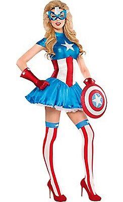 Erwachsene Avengers Kostüm (Avengers Captain America Traum Buchse Erwachsene Kostüm Größe XL 14-16 Brandneu)
