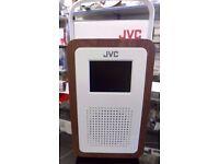 "JVC RA-D57 Portable DAB+ Clock Radio Wood & Cream 3.2"" colour LED display"
