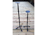 Pair of genuine heavy wrought iron candle sticks