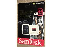 Sandisk Micro SD Card with SD Card Adaptor 64GB 95MB/s