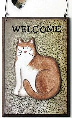 Primitive Crackle CAT WELCOME 3 Dimension Wood Cats Decor Plaque Sign 3.5x5""