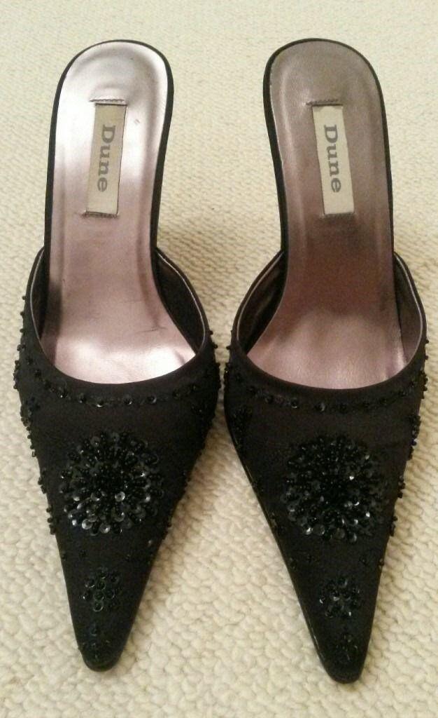 Nearly New DUNE Black Embellished Beaded Sequin/ Satin Kitten High ...