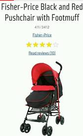 Fisher price red and black pushchair brand new