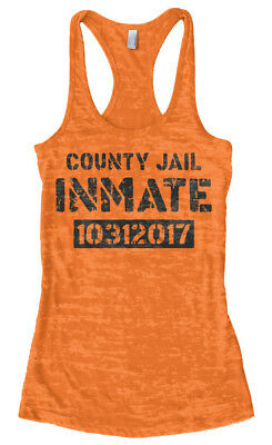 County Jail Inmate 2017 Halloween Costume Women's Burnout Racerback Tank - Top Halloween Costumes 2017 Women
