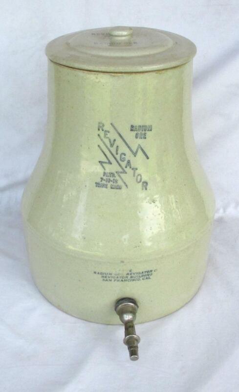 Revigator Radium Ore Quack Medicine Water Stoneware Jug & LId Patent 7-16-1912