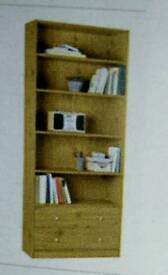 Oak effect bookcase with two draws