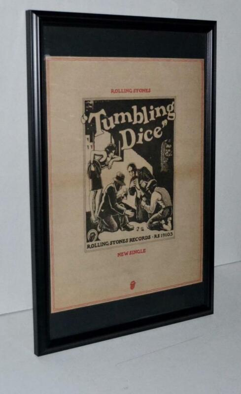 ROLLING STONES 1972 TUMBLING DICE NEW SINGLE FRAMED PROMOTIONAL POSTER / AD